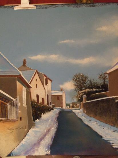 Mellecey sous la neige 2010 ( tableau à vendre).            500€